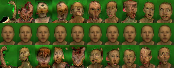 Ben's facial movements exaggerated way beyond normal